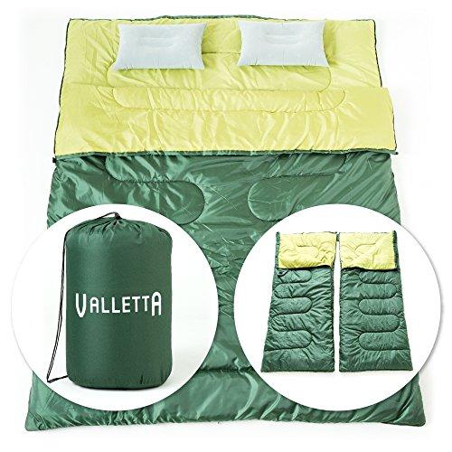 VALLETTA 寝袋 封筒型 春・秋・冬用 2人用 エアピロー 2個付き