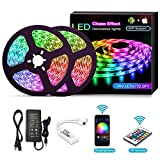 YOMYM LED Strip, LED Strip Kit, Light Bar Controlled by Smartphone, Wireless, WiFi, for Android and iOS, Alexa, Google Assistant, 32.8 ft / 10M (2x5M)