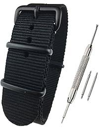 Airself NATOタイプ 時計ベルト 時計バンド ナイロン 替えバンド 替えベルト (交換説明書 交換工具 バネ棒付) (24mm, ブラック 黒バックル)
