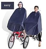 【DENGDING 】大きいツバの自転車 レインコート レディース メンズ ポンチョ型 バイク 雨具 カッパ  レインウェア 自転車用 クリアバイザー (ポンチョタイプ, ネイビー)