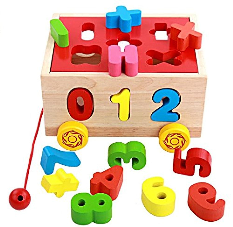 HuaQingPiJu-JP 子供のための車の教育形状の色の認識のおもちゃを並べ替える創造的な木製の番号ソーターソート