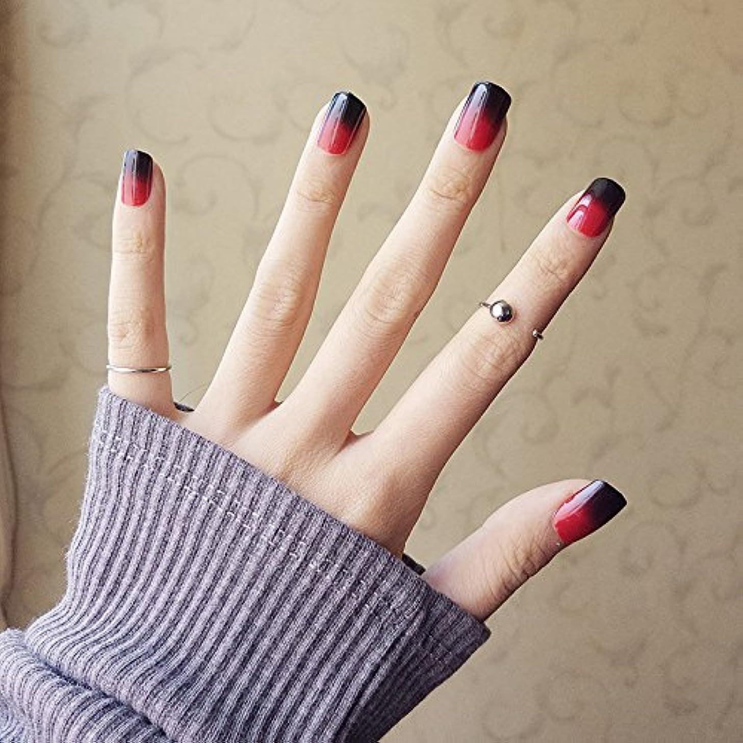 悪性腫瘍投げる自分の24枚入 黒と赤のグラデーション ネイル 貼る ネイルチップ パーティー、二次会などに