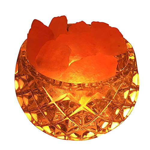 VANRA? ヒマラヤ岩塩ランプ 天然塩製ランプ 調光対応 空気浄化 睡眠促進 寝室の装飾や照明用 (ダイヤモンド-ラウンド口)