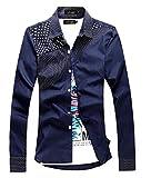 (ベクー)Bekoo メンズ オシャレ 長袖 シャツ 水玉 柄 パッチワーク アクセント キレイメ デザイン 白 黒 青 ピンク サイズ M L XL XXL (06 ネイビー L)