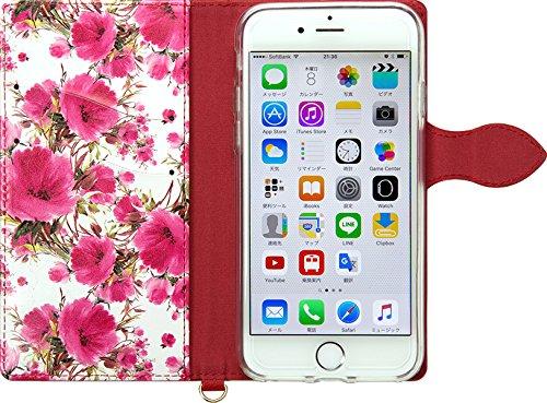 NATURALdesign 手帳型 ケース iPhone7 花柄 フルール カードポケット付 ハンドストラップ付     Wine Red FLEUR(ワインレッド)