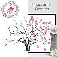新しいホーム装飾指紋キャンバスツリーパターンAutographペイントforウェディング、パーティー、誕生日、部屋with inkpad-styleオプション ピンク FPBD001