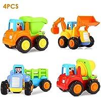 Push and Goおもちゃ車セットの4トラクターセメントミキサーBulldozerダンプトラックfor Kids