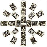 24個の古代ブロンズバイキング北欧ルーンビーズ北欧チャームブレスレットネックレスペンダント髭ロングヘア編組頭飾り DIY ブレスレットジュエリーペンダント