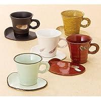 五彩L型コーヒー碗皿5客揃 T-7206
