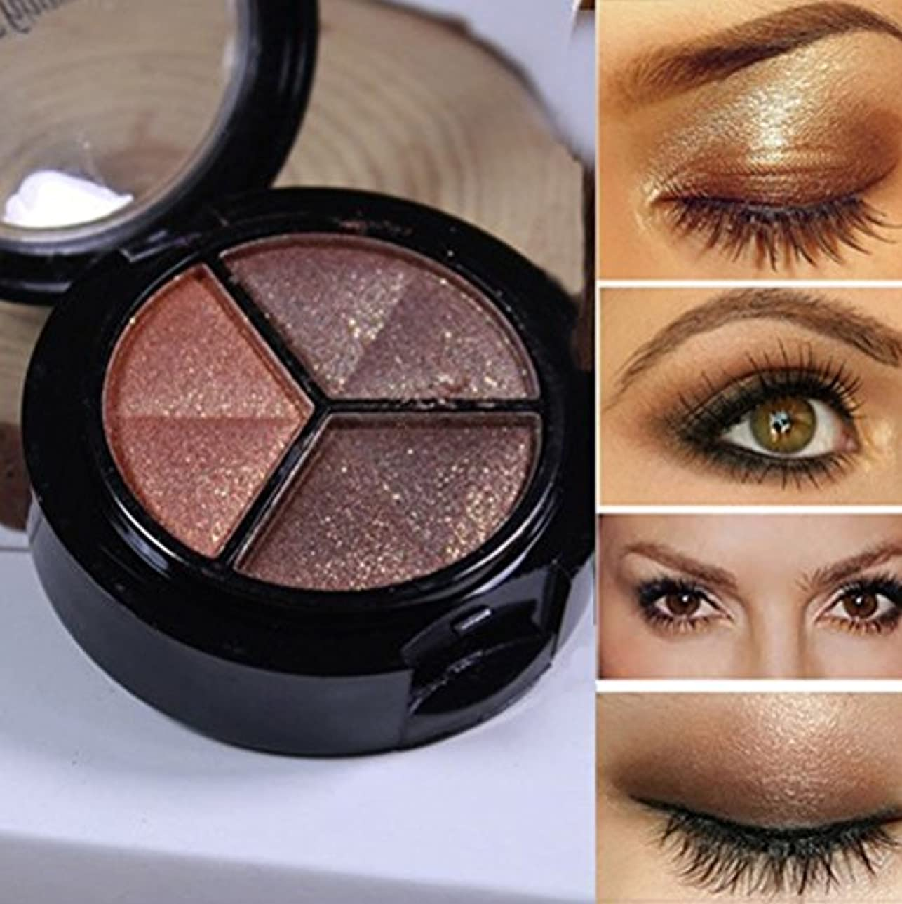 平らにするパッド実証するアイシャドー YOKINO 多機能 明るい目効果 人気 化粧品 3色/セット スモーキー化粧 (D)