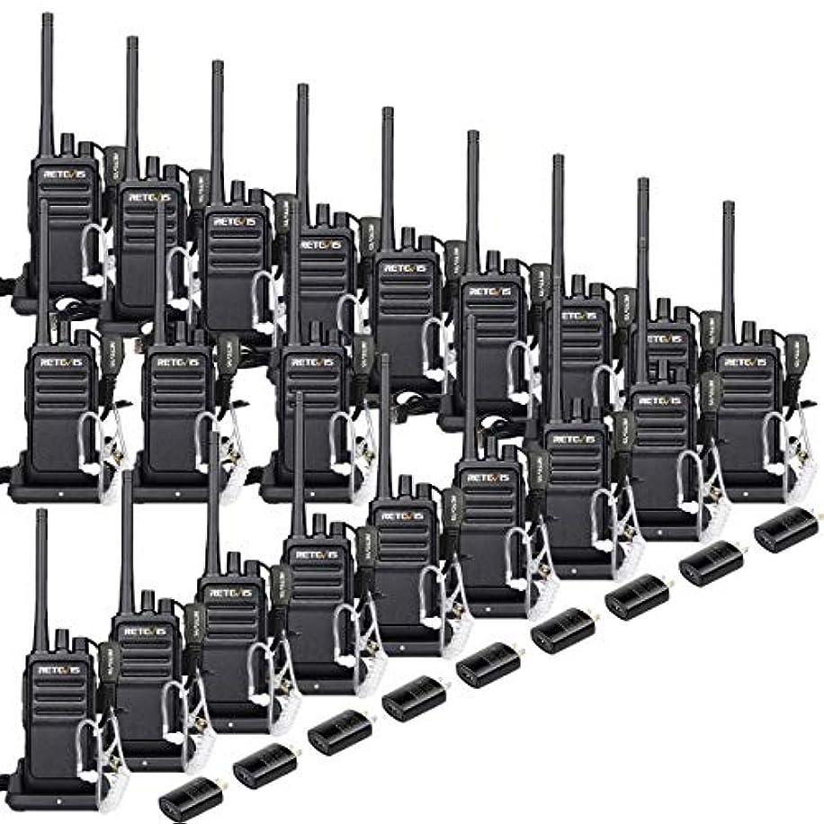 アフリカ人メカニック知恵Retevis RT17 セキュリティ ウェイキートーキー 大人用 FRS UHF 16チャンネル モニター 暗号化 2ウェイラジオ 充電式 長距離 イヤホンヘッドセット付き (20個パック)