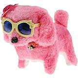 P Prettyia ぬいぐるみ子犬 子犬 電子玩具 wi /帽子&メガネ ピンク ウォーキング