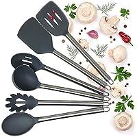 Cooking utensilsセット – キッチンプレミアムツールシリコンヘッドwithステンレススチールハンドルwith Hanging hole-includes Ladle Slotted TurnerスプーンスパチュラSlottedスプーンパスタサーバーNonstickグレー6 pc