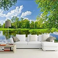 Lixiaoer カスタム青空と白い雲自然風景壁画壁画絵画寝室リビングルームの背景家の装飾壁紙-150X120Cm