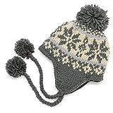温かさを逃さない冬の主役級耳あてノルディック帽子 ボアフリース雪柄ボンボン耳あて付ニット帽 灰