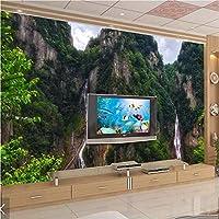 Weaeo 3Dフォレストマウンテンウォーターウォール壁紙壁画インテリアカスタムサイズ-250X175Cm