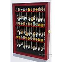 36 Spoon Display Case Cabinet Holder Rack Shadow Box with Real Glass Door, CHERRY Finish by DisplayGifts.com, Factory Direct Display Cases