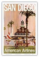 サンディエゴ - アメリカン航空 - アメリカン航空 - ビンテージな航空会社のポスター によって作成された V. K. c.1970 - アートポスター - 31cm x 46cm