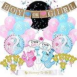 ベビーシャワー飾り付け 可愛い フォトプロップス BABY OR GIRLバナー アルミバルーン Mom To Beショルダーストラップ 男女通用 出産お祝い 誕生日 パーティーデコレーション 65枚セット