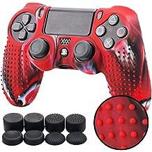 PS4 コントローラー用 ちりばめ シリコン スキン ケース 保護カバー x 1 (迷彩レッド) 耐衝撃 高品質 + FPS PRO ティック カバー x 8
