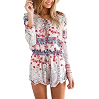 Urban CoCo Women's Bohemian Printed Jumpsuits V-neck Ethnic Style Playsuit Rompers (L, Pink)