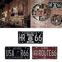 アメリカアメリカルート66道路」ヴィンテージナンバープレートウォールアートクラフトレトロな家の装飾30.2x16cm