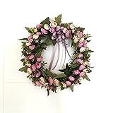 桜の雪 きれい 店舗 玄関 壁掛け 庭園 飾り 結婚式 造花 花輪 撮影 道具 52cm (パープル)