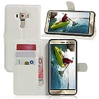 ASUS Zenfone 3 ZE520KL カバー スタンド機能 おしゃれ 人気 カバー 手帳 PU レザー 革 携帯 スマホ 保護 ケース カード収納 ホルダー マグネットベルト 有り スマートフォン ケース (ホワイト)