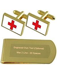 赤十字旗ゴールドトーン カフスボタン お金クリップを刻まれたギフトセット
