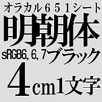4センチ 明朝体 つや消しブラック sRGB 6,6,7 oracal651 ファイングレード 切文字シール カッティングシール カッティングステッカー