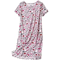 PNAEONG Women's Cotton Nightgown Casual Nights Sleepwear Short Sleeves Print Sleepshirt XTSY001-White Cats-S