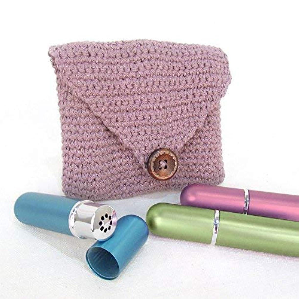 キャンディー複製する司教Purple Crochet Case and 3 Empty Essential Oil Aluminum and Glass Refillable Inhalers by Rivertree Life [並行輸入品]