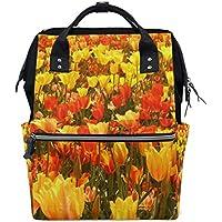 ママバッグ マザーズバッグ リュックサック ハンドバッグ 旅行用 秋の花柄 金黄色 ファション