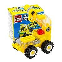 玩具車 おもちゃDIY車 組み立てブロック エンジニアリングカー 脳力開発 子供教育 想像力育成 全5色 - 黄