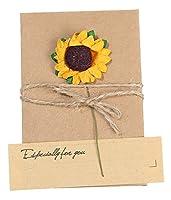 C-Princess レトロ グリーティングカード メッセージカード 立体 ポップアップカード お祝いカード 封筒付き レター 手紙 便箋 お花飾り かわいい ひまわり (S 9*5cm)