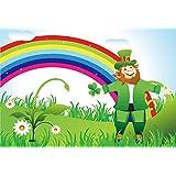 Yeele 7x5フィート Happy St.Patricks Day 写真撮影用背景幕 春のレプラコーンのラッキークローバー レインボーの背景 パーティー装飾 バナー 子供 大人 写真ブース撮影 ビニールスタジオ小道具