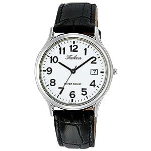 [シチズン キューアンドキュー]CITIZEN Q&Q 腕時計 Falcon ファルコン アナログ 革ベルト 日付 表示 ホワイト D014-304 メンズ