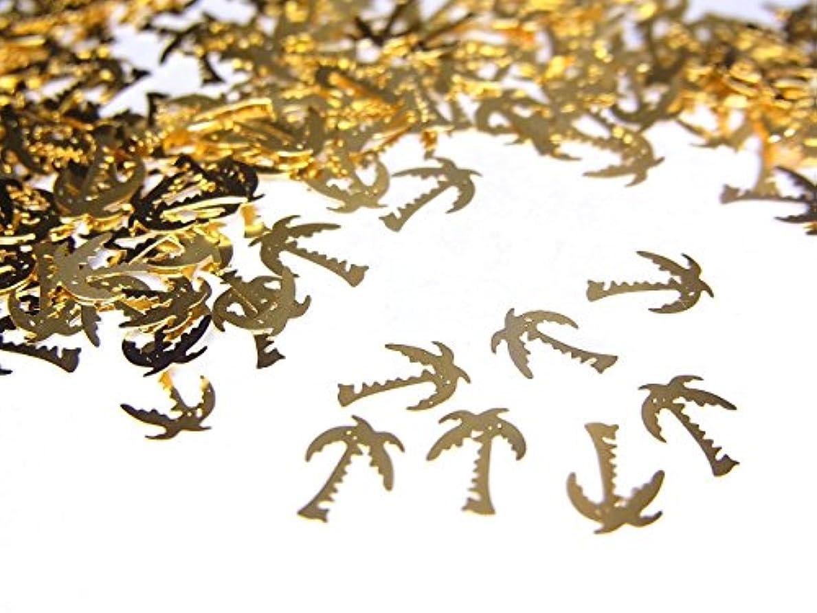 杖ヘルシー見出し【jewel】薄型ネイルパーツ ゴールド ヤシの木10個
