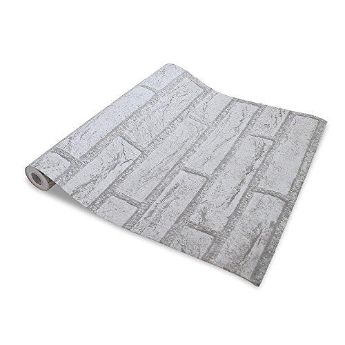 WIBERTA 壁紙シール ウォールステッカー レンガ柄 はがせるタイプ 45cm×10m スクレーパー 貼り方説明書付き ホワイト