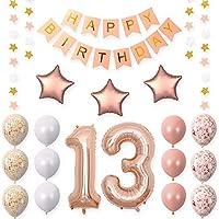 40インチローズゴールドホイルバルーン誕生日パーティーDecorations Supplies、ローズゴールドHang Happy birthdayballoonsバナー、ゴールド紙吹雪バルーン。
