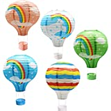 熱気球型 紙提灯 装飾用 紙ちょうちん ランタン レインボー 虹 ちょうちん 結婚式 誕生日 パーティー イベント 装飾 5個セット (直径30cm×高さ42cm)
