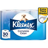 KLEENEX Toilet Tissue Complete Clean Toilet Paper, 30 Rolls, 180 Sheets Per Roll, 30 x 1 Pack