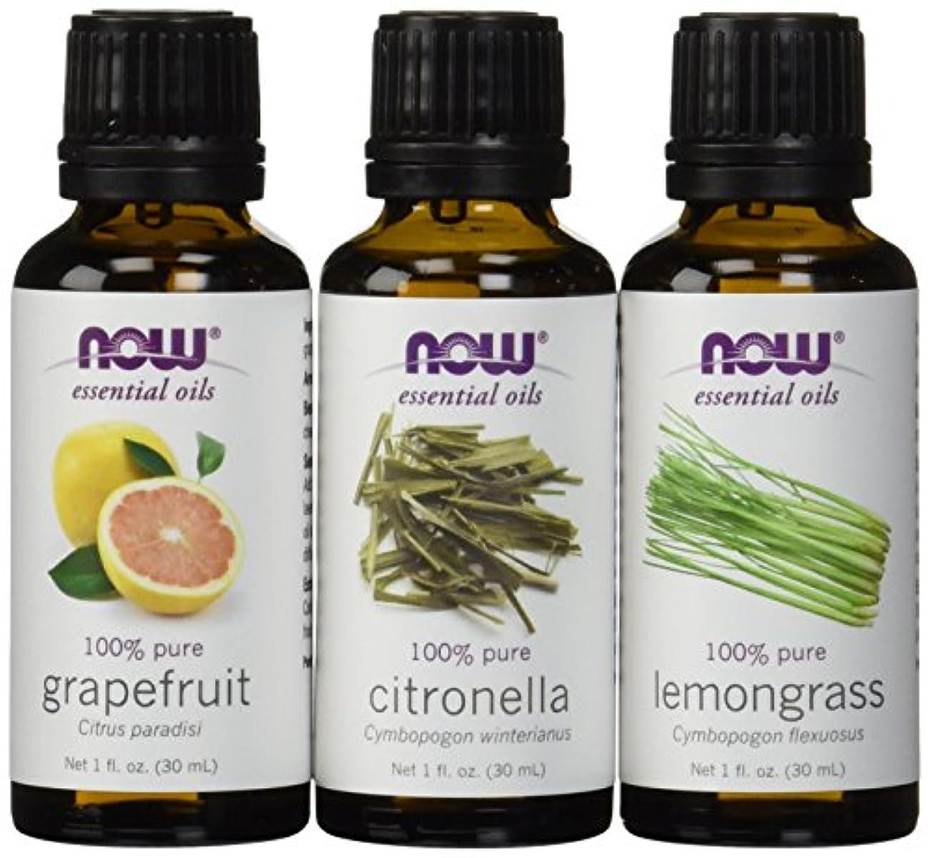 ショートカット安全帽子虫除けに ナウフーズ エッセンシャルオイルブレンド:シトロネラ?レモングラス?グレープフルーツ[各30ml] NOW Essential Oils: Mosquito Repellent Blend - Citronella...