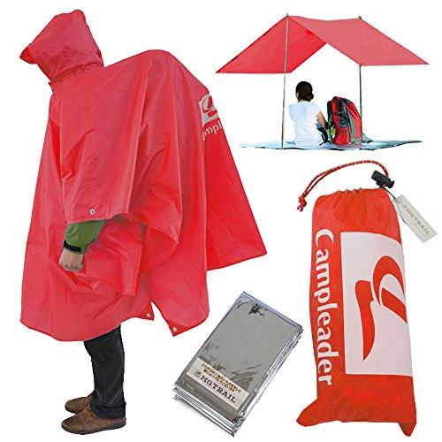 レインコート シート タープ、キャンプやトレッキング登山時の雨対策屋外フェスライブでも活躍リュックを背負ったまま着用できる MG TRAIL 携帯ポンチョ 防寒シート付 (フラッシュレッド)
