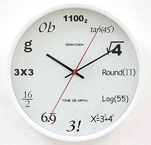 理系はおもわず欲しくなる!? 直径30cm 壁掛け 数式時計 リビングルーム 教室など ポップクイズクロック 【AG Logistics】 (ホワイト)