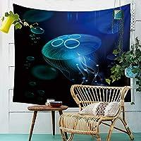 タペストリー、シーリングブランケットドリームクラゲタペストリー布壁掛けプリントビーチタオルホームウォールデコレーションテレビの背景ウォールベッドルームリビングルーム吊り布 (Color : 004, Size : 150cm*100cm)