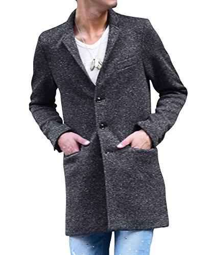 ジョーカーセレクト(JOKER Select) チェスターコート メンズ コート ジャケット ニット フリース チェスター ロング 長袖 L ブラック(無地)