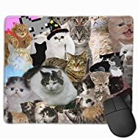 Cheng xiao Mouse Pad Cute Cat Collage Art Rectangle Rubber Mousepad Non-toxic Print Gaming Mouse Pad with Black Lock Edge,9.8 * 11.8 in,ベーシック マウスパッド ゲーム用 標準サイズ