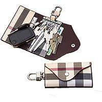 Women Men Leather Car Key Chain Card Holder, Money Wallet Pouch Case 6 Keys Organizer Bag Case(Beige)