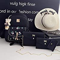 ZHANGYOUDE 4 in 1 Embroidery Dandelion PU Leather Double Shoulders School Bag Travel Backpackage Bag with Bear Doll Pendant (Black) (Color : Black)